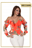 Blusa-Colombiana-Roja-Flores-T1049